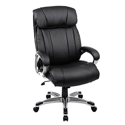 SONGMICS Bürostuhl breite Sitzschale mit Federkern hohe Rückenlehne Bürosessel Chefsessel...