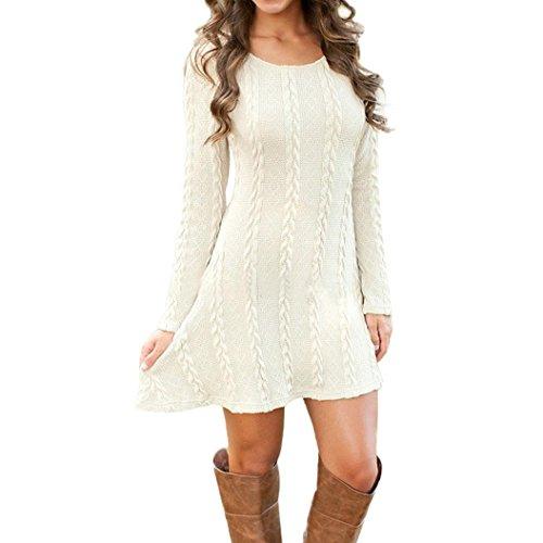 Signore delle donne manica lunga girocollo Maglione casuale sottile maglione lavorato a maglia Vestitino (S, Bianco)