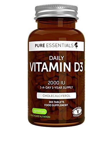 Vitamina D3 Colecalciferol 2000IU de Pure Essentials, suministro diario para un año, 365 tabletas pequeñas