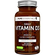 Pure Essentials Daily Vitamin D3 2000iu, 1-Year Supply, Vegetarian, 365 Small Tablets