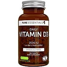 Vitamina D3 Colecalciferol 2000IU de Pure Essentials, suministro diario para un año, 365 tabletas