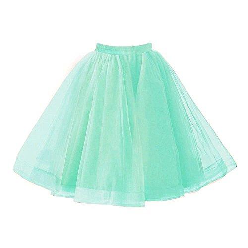 Izanoy Damen Vintage 1950er Rockabilly Tutu Kleid Petticoat Unterrock für Balletttanz Minze Medium (1950 Minze Kleid)