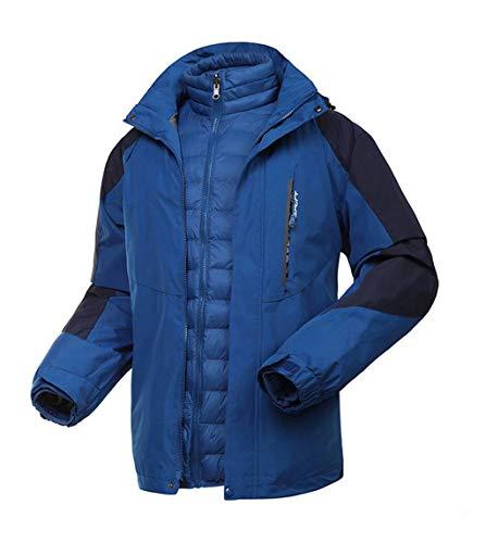 DAFREW Männer Wasserdichte Jacke, Daunenjacke Liner DREI-in-One-Reitjacke Wandern Bergsteigen Anzug Outdoor-Bekleidung (Farbe : Dunkelblau, größe : L)