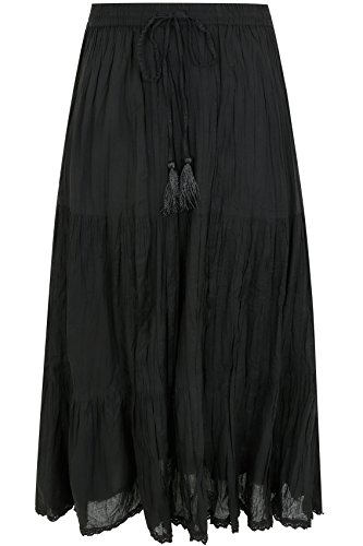 Yoursclothing Plus Size Womens Tiered Crinkle Maxi Skirt, Plus Size 16 To 36 Size 22 Black steampunk buy now online