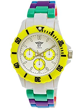 NY London Rainbow Damen Herren Kunststoff Armband Uhr bunte Kunststoff Damenuhr Herrenuhr Armbanduhr Gelb Weiß...