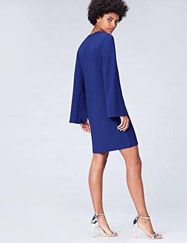 FIND Damen Kleid mit geschlitztem Ärmel Blau