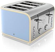 Swan 4-Slice Retro Toaster, 1600 Watt, Blue