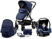 Kinderkraft Wielofunkcyjny Wózek Dziecięcy MOOV 3w1, Spacerówka, Travel system, Fotelik samochodowy i akcesori