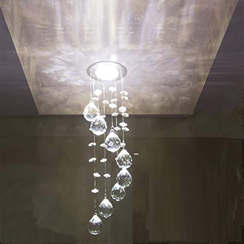 Hdwy lampadario di cristallo droplet plafoniera, morden spiral rain drop lampadario a soffitto per soggiorno camera da letto sala da pranzo sala scale,whitelight
