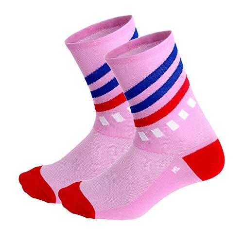 Yimosecoxiang Verschleißfeste Fashion Stripe Outdoor Sport Casual Laufen Radfahren Atmungsaktiv Unisex Socken - Pink, Rose -