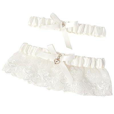 Grace Karin®Adjustable Lace Heart Accent Wedding Keep & Toss Away Garter Set