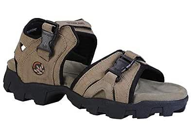 Woodland Men's Khaki Leather Sandals-8 UK/India (42 EU) (OGD 0489108)