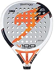 Slazenger V100 Pro Team - Pala de pádel, color blanco / gris / naranja, 38 mm