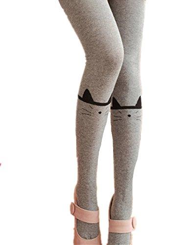 Swallowuk Damen Mädchen Niedlich Kniestrümpfe Katze Drucken Leggings Strumpfhosen (Grau)