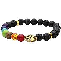 JOVIVI Schmuck, Lava-Armband Damen Herren Reiki-Energietherapie Armreif 7 Chakra Healing Buddha-Armband,Gold Buddha... preisvergleich bei billige-tabletten.eu