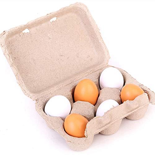 Ogquaton Giocattolo educativo pre-scuola per bambini in legno per uova - 6 pezzi/set Tuorlo d'uovo in legno finta Gioca cucina Cibo per bambini Giocattolo per bambini Regali di Natale