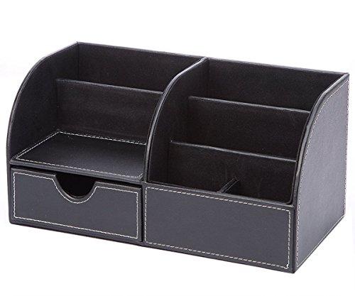 DONG 7 Speicherfächer Multifunktionale PU Leder Schreibtisch Organizer Desktop Schreibwaren Aufbewahrungsbox Sammlung Schreibtisch Supplies Organizer (28 * 14,5 * 14,5 cm/11,0 * 5,7 * 5,7 in)