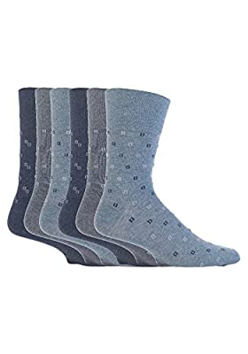 6 Pairs mens gentle grip no elastic socks 6-11 uk, 39-45 eur Assorted colours : everything 5 pounds (or less!)