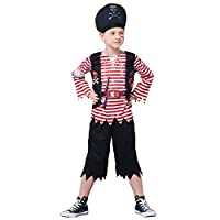 IKALI Kids Pirate Costumes, Toddler Boys Stripey High Seas Caribbean Buccaneer Fancy Dress Up Outfit for Party