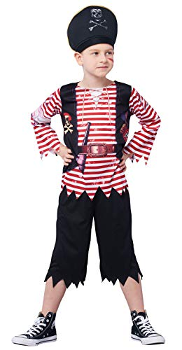 IKALI Pirat kostüm für Kinder Jungen, Schädel Gekreuzte Knochen Gestreiften Karibik Freibeuter Outfit, Captain Jack Spiel Spielen - Schädel Kostüm