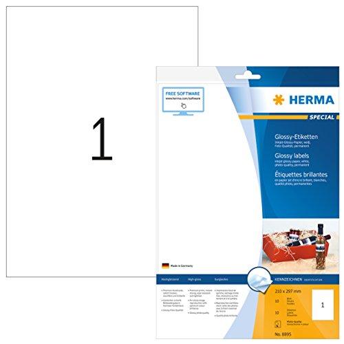Herma 8895 Tintenstrahldrucker Etiketten Foto-Qualität (Format DIN A4 210 x 297 mm) weiß, 10 Aufkleber, 10 Blatt Papier matt, bedruckbar, selbstklebend -