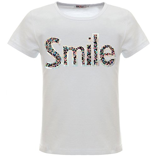 BEZLIT Mädchen Kinder Glitzer T-Shirt Oberteil Hologramm 22537 Weiß 164 - Mädchen Glitzer T-shirt