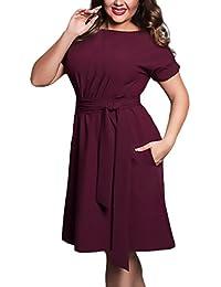 Vestiti Donna Estivi Moda Puro Colore Eleganti Abiti Da Cerimonia Manica  Corta Rotondo Collo Linea Ad b2b2f4b0ff9