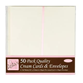 Anita's Tall Card and Envelope, Pack of 50, Cream