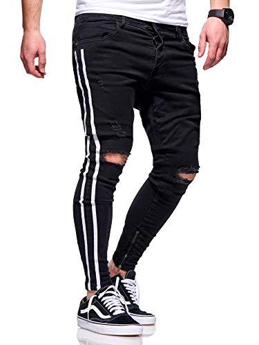 behype. Herren Destroyed Stretch Jeans-Hose im Used-Look mit Side-Stripe 80-4069 Schwarz (4167) W36/L32