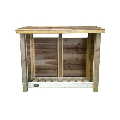 GIDLEIGH 4ft TALL WOODEN SINGLE BAY LOG STORE/GARDEN STORAGE, HEAVY DUTY, HAND MADE, PRESSURE TREATED
