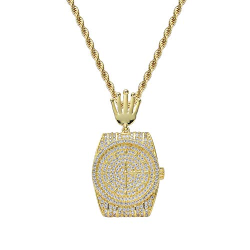 WJMSS Herren Zirkon Zifferblatt Uhr Anhänger Halskette Hip Hop Schmuck, 60cm,Gold