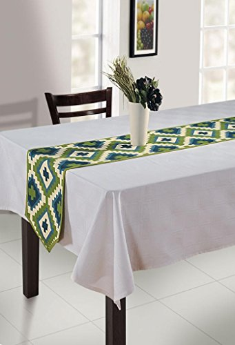 Swayam Libra Printed Cotton Regular Table Runner - Green (RNR01-1408)