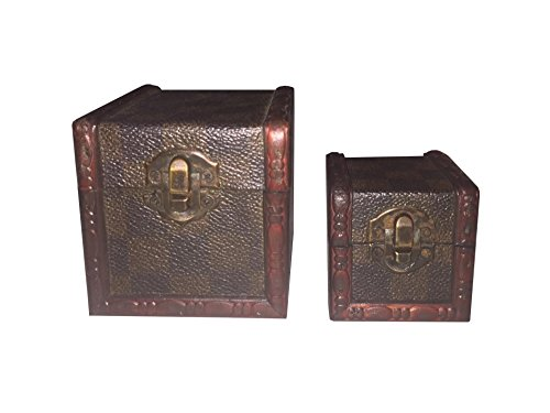Fologar-2-Mini-Bal-Caja-Decorativa-de-Abeto-Color-Marrn-Estilo-Antiguo