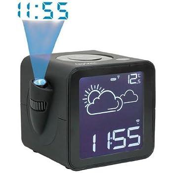ClipSonic AR290NRC - Radio-réveil FM avec station météo et projection de l'heure