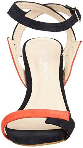Paper Dolls Lightning, Sandales  Bout ouvert femme Multicolore - Mehrfarbig (Navy & Orange)