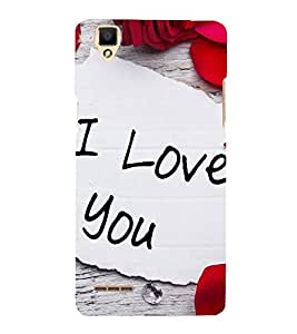 I Love You 3D Hard Polycarbonate Designer Back Case Cover for Oppo F1