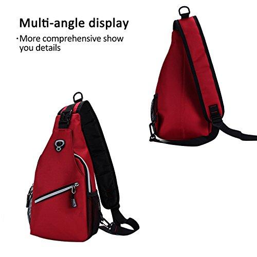 FANDARE Sling Bag Umhängetasche Messenger Bag Hiking Bag Crossbody Bag Rucksack Polyester Lila Rot