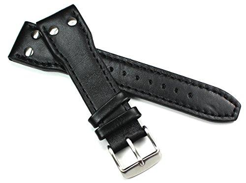 24mm Cinturino in pelle Bracciale Orologi Band Aviatore Pilot Aviator...
