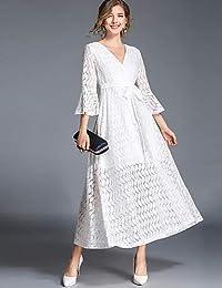 7bb3522d1 YFLTZ Vestido de Noche Elegante de la Calle de Las Mujeres de la Vendimia  un Vestido de oscilación de la línea - cordón Coloreado sólido