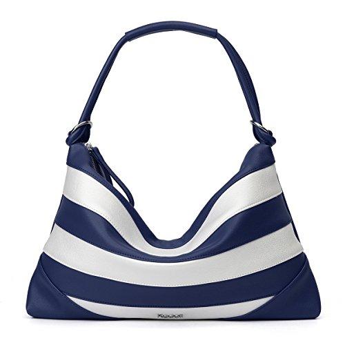 Kadell Women Leather Vintage Shoulder Handbags Totes Top Handle Bags Satchel Purses Hobos Schwarz und Weiß Dunkelblau und Weiß