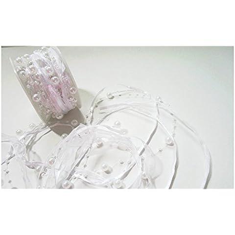 10m nastro organza alla moda con perle: Bianco