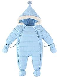 Traje de Nieve Bebé Peleles Mameluco con Capucha Manga Larga Monos Ropa de Invierno 0-18 Meses