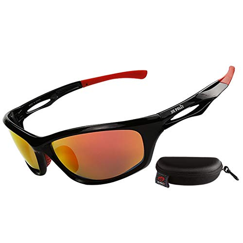 DOLOVE Motorrad Brille Nacht Arbeitsbrille Sonnenbrille Anti Glanz Nachtfahrbrille Schwarz Rot