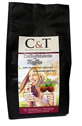 Kaffee mit Geschmack, ohne Koffein! Entkoffeinierter Kaffee mit natürlichen Aromen: Haselnuss...