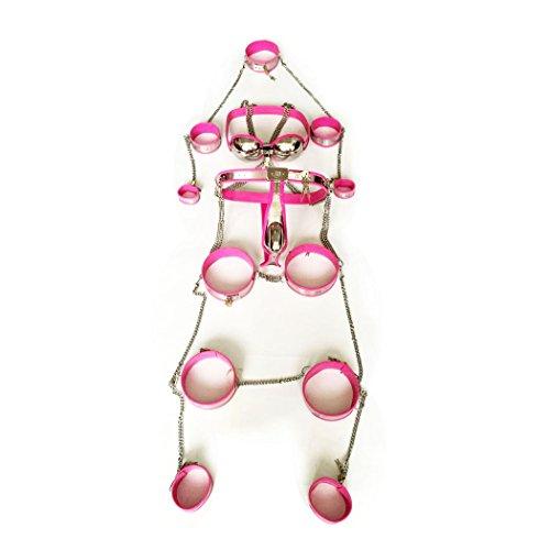 FeiGu Männlich Edelstahl Peniskäfig Keuschheitsgürtel Unterwäsche für Männer Keuschheit & Cuff Collar Anal Plug Body-Safe Silikon & Edelstahl (Set of 8, Pink)