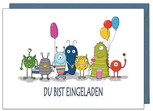 the lazy panda card company 15 Einladungskarten Kindergeburtstag: Monster Party Geburtstagseinladungen Einladungen Geburtstag Kinder Mädchen (15 Karten mit 15 passenden Umschlägen Briefumschlägen) (Monster Geburtstag Party)