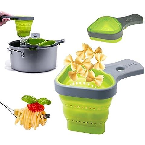 MWS2556 703419 Set de 2 coladores de silicona plegables para pasta (color verde)