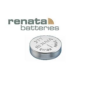 2 x Renata 377 Quecksilberbatterie für Uhren, SR626SW, Silberoxid Uhrenbatterie, 1,55 V, silberfarben