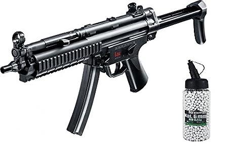SET: Softair MP5 A5 RAS, Metall Gear Box AEG max. 0,5 Joule 6mm + G8DS® Softair Munition BIO BBs Premium Selection 2000 Stück 0,20 g 6mm