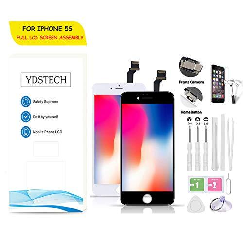 YDSTECH LCD Display für iPhone 5S Schwarz Ersatz Bildschirm Touch Screen Glas Front Digitizer vormontiert mit Home Button, Hörmuschel, Frontkamera,Näherungssensor, Reparaturset,Werkzeuge - Ersatz 5s Glas Iphone